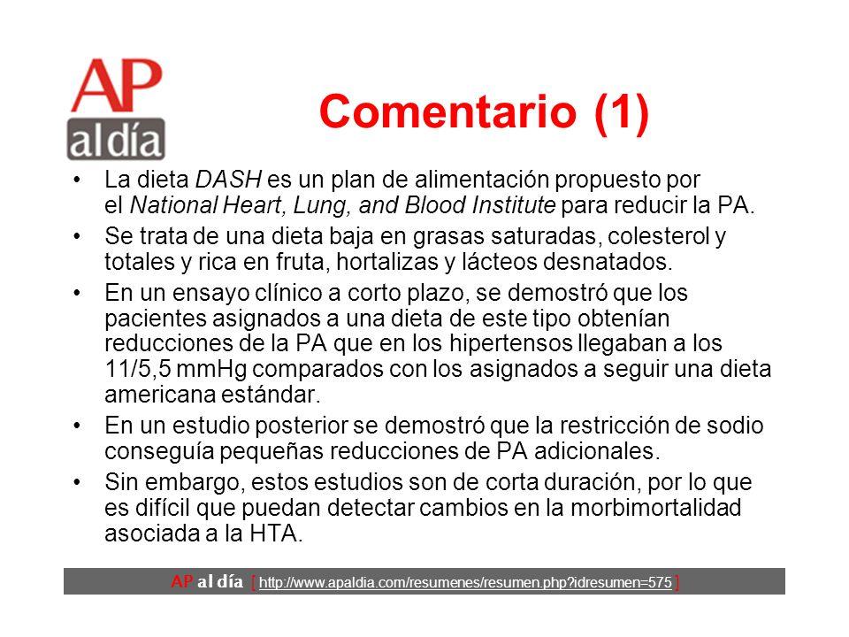 AP al día [ http://www.apaldia.com/resumenes/resumen.php?idresumen=575 ] Conclusiones Los autores concluyen que, en mujeres de edad media, la adherencia a una dieta DASH se asocia a una menor incidencia de cardiopatía isquémica y AVC a largo plazo.