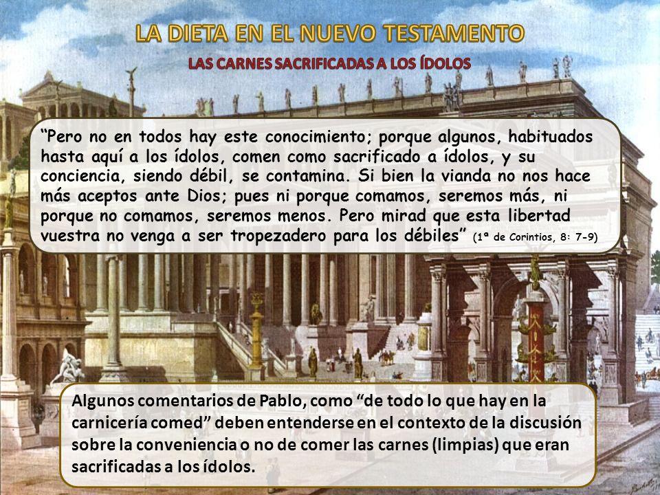 Pero no en todos hay este conocimiento; porque algunos, habituados hasta aquí a los ídolos, comen como sacrificado a ídolos, y su conciencia, siendo d