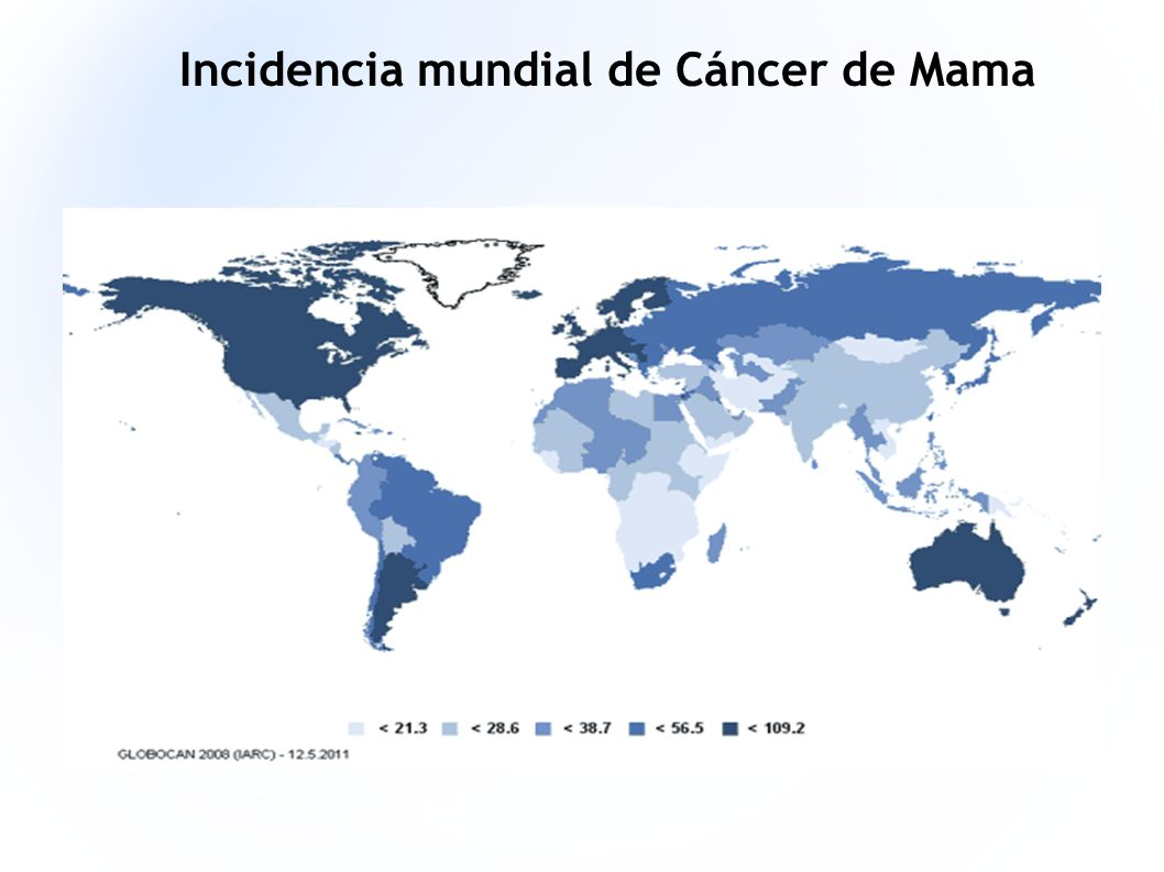 Incidencia mundial de Cáncer de Mama