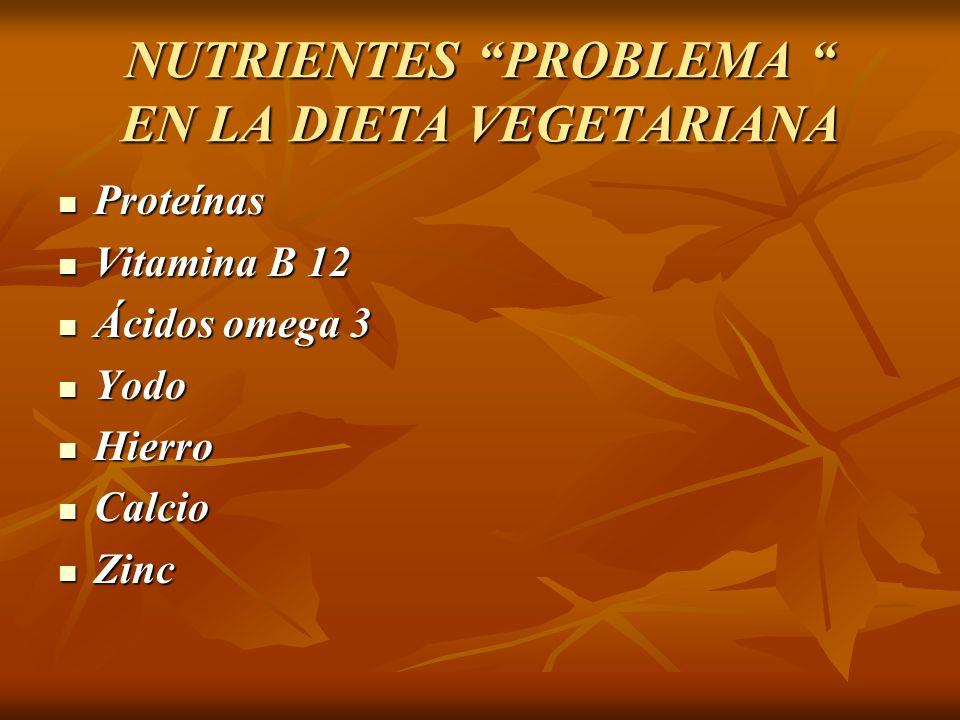 NUTRIENTES PROBLEMA EN LA DIETA VEGETARIANA Proteínas Proteínas Vitamina B 12 Vitamina B 12 Ácidos omega 3 Ácidos omega 3 Yodo Yodo Hierro Hierro Calc