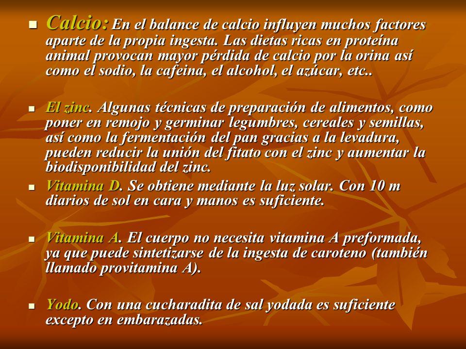 Calcio: En el balance de calcio influyen muchos factores aparte de la propia ingesta. Las dietas ricas en proteína animal provocan mayor pérdida de ca