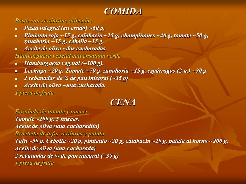 COMIDA Pasta con verduritas salteadas Pasta integral (en crudo) ~60 g. Pasta integral (en crudo) ~60 g. Pimiento rojo ~15 g, calabacín ~15 g, champiño