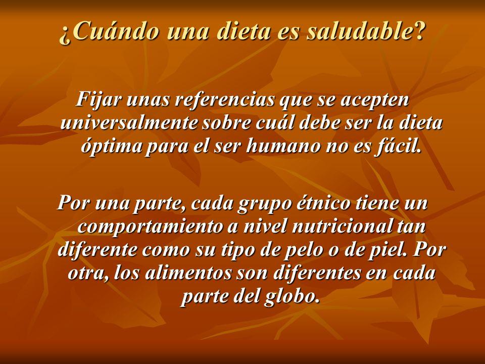 ¿Cuándo una dieta es saludable? Fijar unas referencias que se acepten universalmente sobre cuál debe ser la dieta óptima para el ser humano no es fáci
