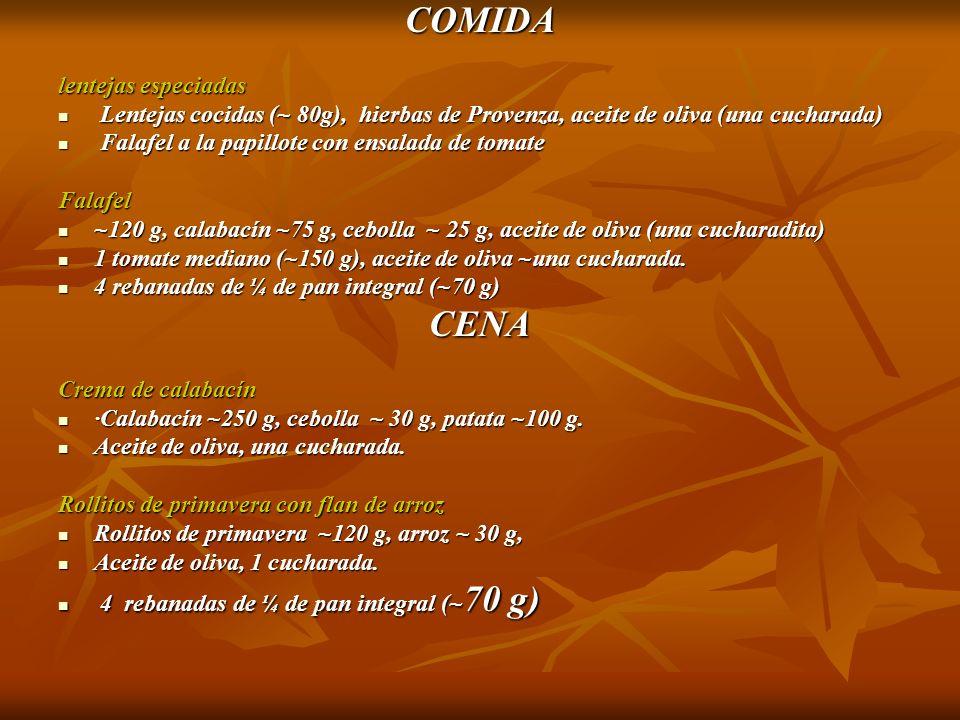 COMIDA lentejas especiadas Lentejas cocidas (~ 80g), hierbas de Provenza, aceite de oliva (una cucharada) Lentejas cocidas (~ 80g), hierbas de Provenz