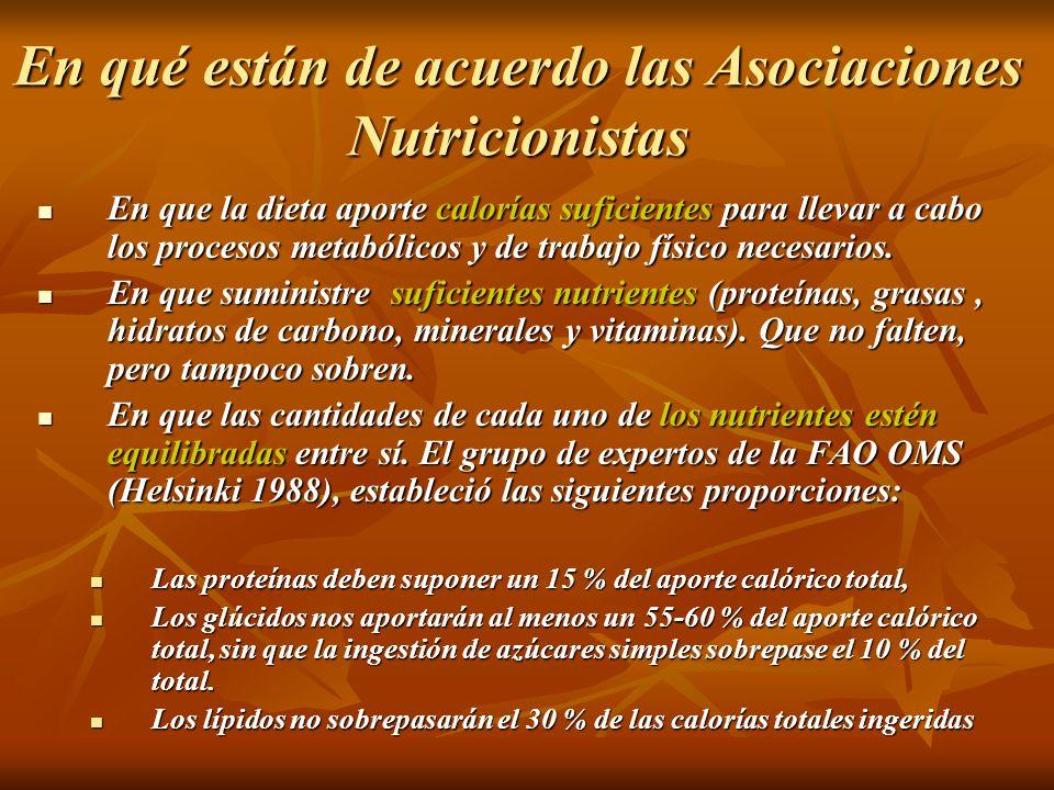 En qué están de acuerdo las Asociaciones Nutricionistas En que la dieta aporte calorías suficientes para llevar a cabo los procesos metabólicos y de t