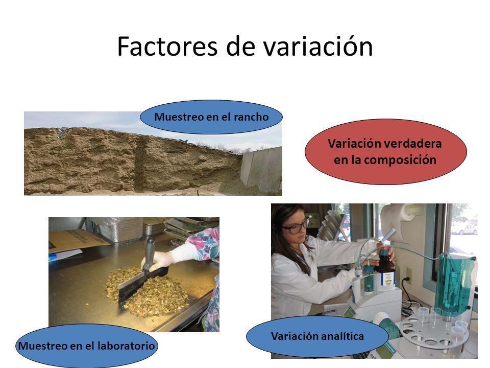 Factores de variación Muestreo en el rancho Variación verdadera en la composición Muestreo en el laboratorio Variación analítica