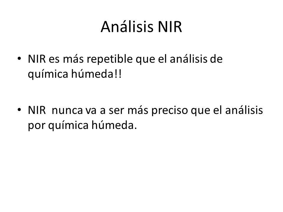Análisis NIR NIR es más repetible que el análisis de química húmeda!! NIR nunca va a ser más preciso que el análisis por química húmeda.