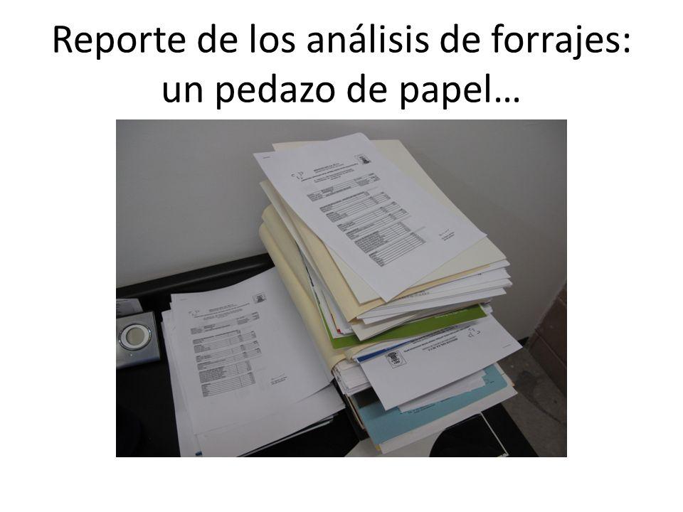 Reporte de los análisis de forrajes: un pedazo de papel…