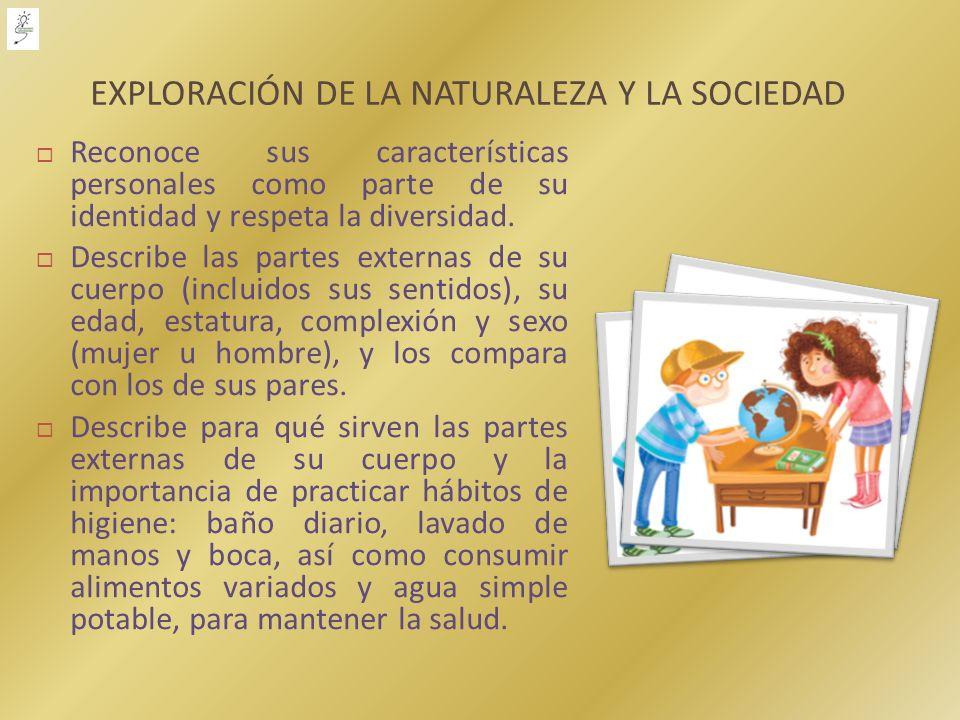 EXPLORACIÓN DE LA NATURALEZA Y LA SOCIEDAD Reconoce sus características personales como parte de su identidad y respeta la diversidad. Describe las pa