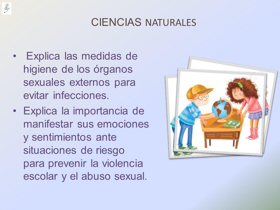 CIENCIAS NATURALES Explica las medidas de higiene de los órganos sexuales externos para evitar infecciones. Explica la importancia de manifestar sus e