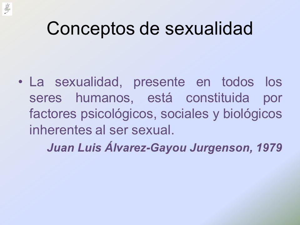 Conceptos de sexualidad La sexualidad, presente en todos los seres humanos, está constituida por factores psicológicos, sociales y biológicos inherent