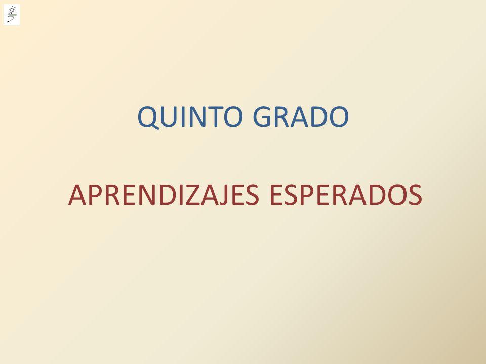 APRENDIZAJES ESPERADOS QUINTO GRADO
