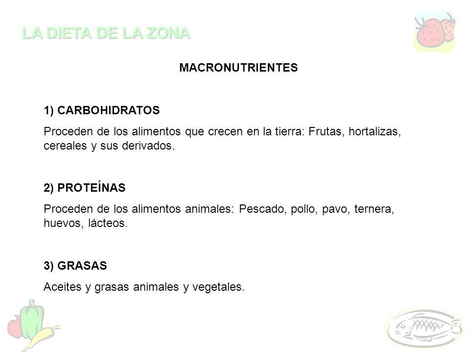 LA DIETA DE LA ZONA MACRONUTRIENTES 1) CARBOHIDRATOS Proceden de los alimentos que crecen en la tierra: Frutas, hortalizas, cereales y sus derivados.