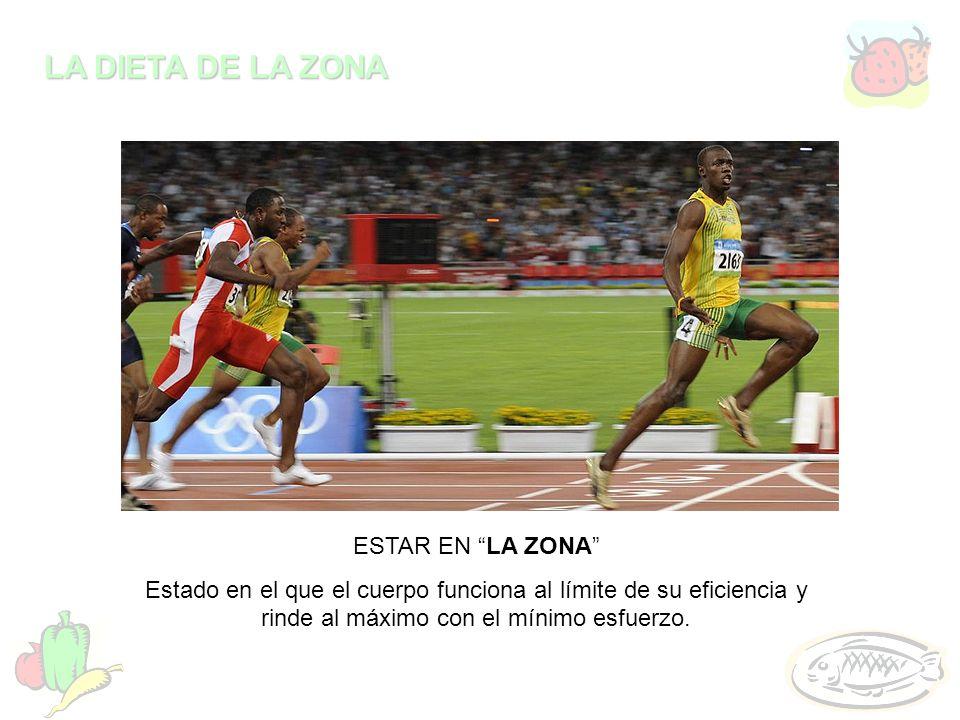 LA DIETA DE LA ZONA ESTAR EN LA ZONA Estado en el que el cuerpo funciona al límite de su eficiencia y rinde al máximo con el mínimo esfuerzo.
