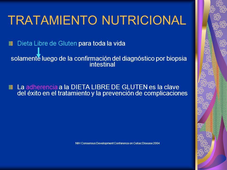SEGÚN FORMA DE PRESENTACIÓN Y COMPROMISO DE LA ABSORCIÓN 1)Sin gluten, s/ lactosa, s/ sacarosa, s/ fibra 2)Sin gluten, progresivo lactosa, sacarosa y fibra 3)Sin gluten DIETA EN 3 ETAPAS Guideline for the Diagnosis and Treatment of Celiac Disease in Children – NASPGHAN.