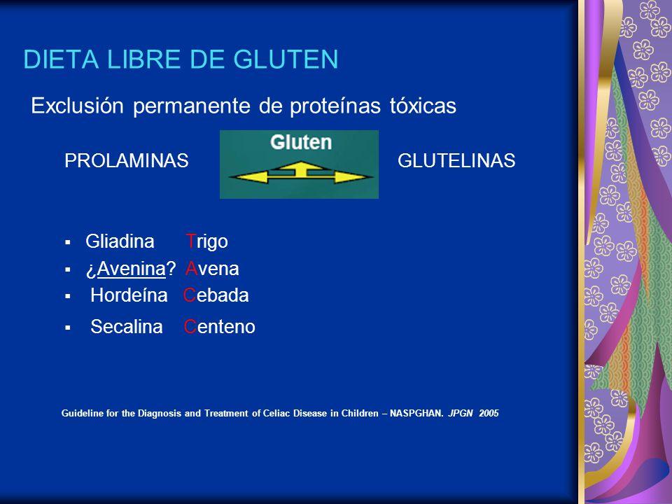 DIETA LIBRE DE GLUTEN Exclusión permanente de proteínas tóxicas PROLAMINAS GLUTELINAS Gliadina Trigo ¿Avenina? Avena Hordeína Cebada Secalina Centeno