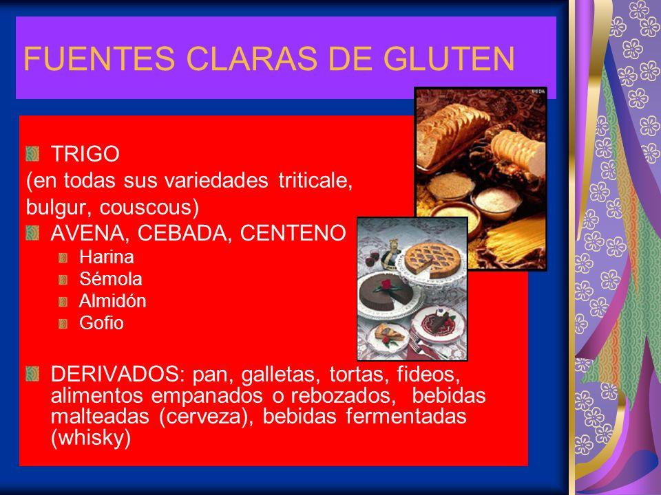 FUENTES CLARAS DE GLUTEN TRIGO (en todas sus variedades triticale, bulgur, couscous) AVENA, CEBADA, CENTENO Harina Sémola Almidón Gofio DERIVADOS: pan