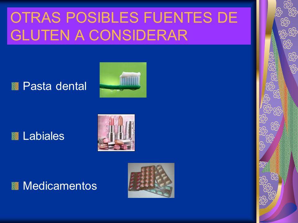 OTRAS POSIBLES FUENTES DE GLUTEN A CONSIDERAR Pasta dental Labiales Medicamentos
