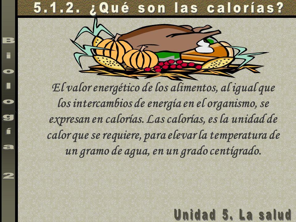 El valor energético de los alimentos, al igual que los intercambios de energía en el organismo, se expresan en calorías. Las calorías, es la unidad de