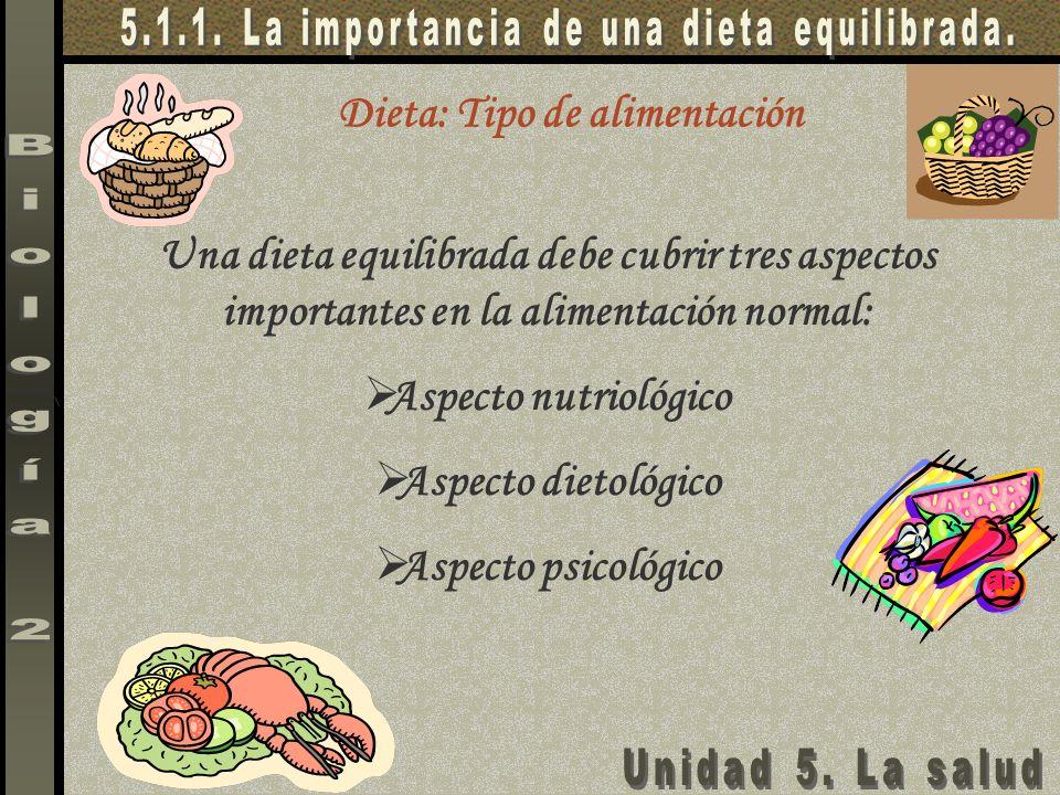 Dieta: Tipo de alimentación Una dieta equilibrada debe cubrir tres aspectos importantes en la alimentación normal: Aspecto nutriológico Aspecto dietol