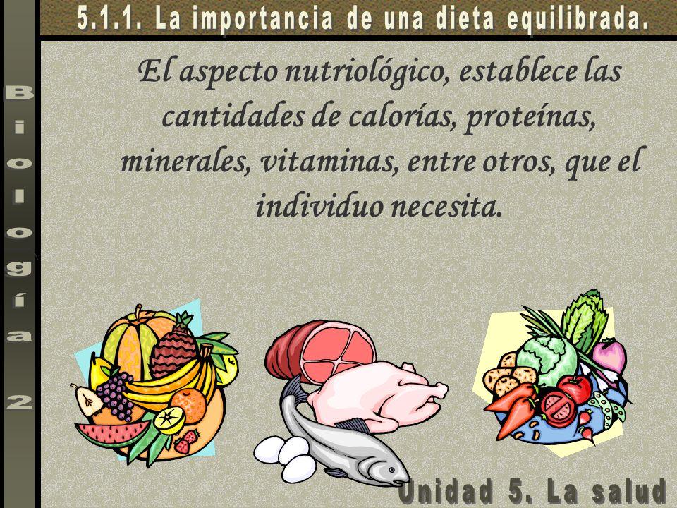 El aspecto nutriológico, establece las cantidades de calorías, proteínas, minerales, vitaminas, entre otros, que el individuo necesita.