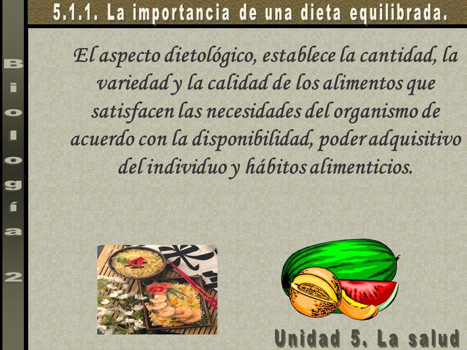 El aspecto dietológico, establece la cantidad, la variedad y la calidad de los alimentos que satisfacen las necesidades del organismo de acuerdo con l