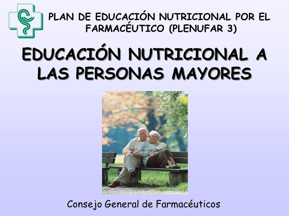 PLAN DE EDUCACIÓN NUTRICIONAL POR EL FARMACÉUTICO (PLENUFAR 3) ÍNDICE 1- Introducción 2- Importancia de una ingestión adecuada y suficiente de alimentos 3- Necesidades nutritivas de las personas mayores 4- Vigilancia de la ingesta de agua y otros líquidos 5- Reparto de la ingesta en 4-5 veces al día 6- Consumo de alimentos superfluos limitados 7- Patologías relacionadas con la alimentación 8- Psicología del anciano 9- Orientación hacia la cocina fácil 10- Cuidados de la dentadura 11- Alimentación e incontinencia urinaria.