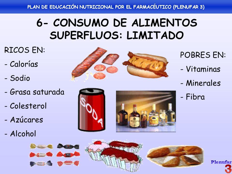 6- CONSUMO DE ALIMENTOS SUPERFLUOS: LIMITADO RICOS EN: - Calorías - Sodio - Grasa saturada - Colesterol - Azúcares - Alcohol POBRES EN: - Vitaminas -