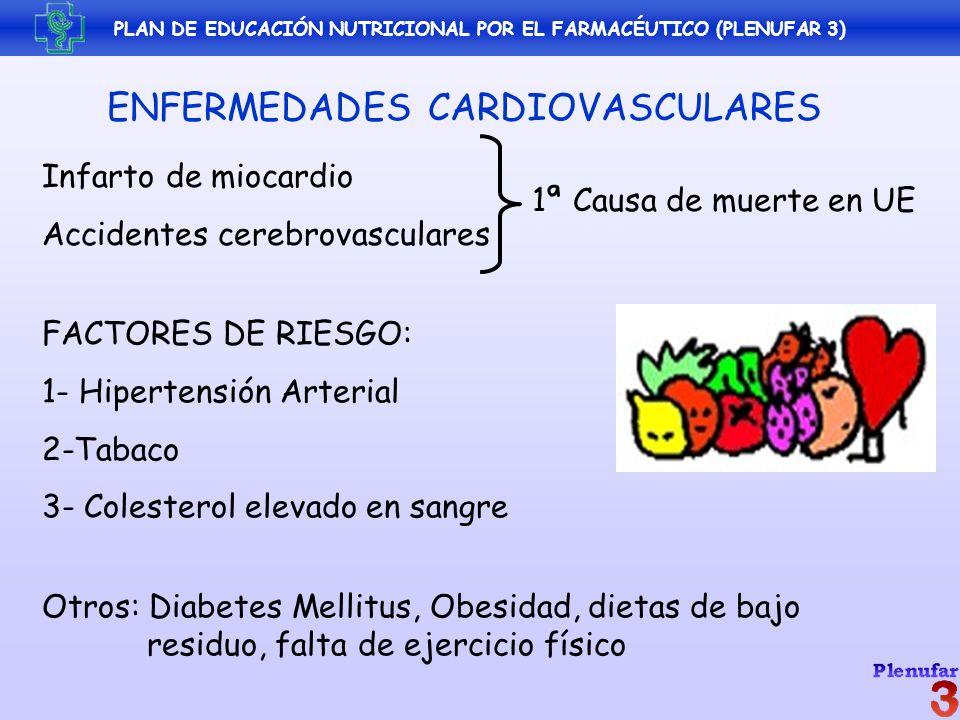 PLAN DE EDUCACIÓN NUTRICIONAL POR EL FARMACÉUTICO (PLENUFAR 3) ENFERMEDADES CARDIOVASCULARES Infarto de miocardio Accidentes cerebrovasculares FACTORE