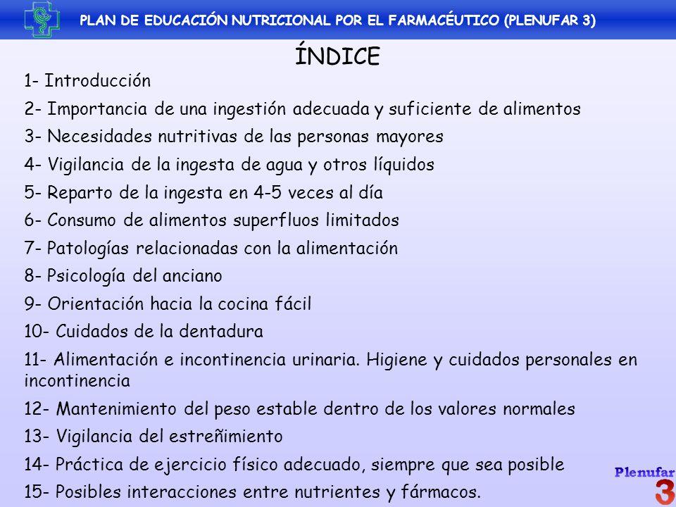 6- CONSUMO DE ALIMENTOS SUPERFLUOS: LIMITADO RICOS EN: - Calorías - Sodio - Grasa saturada - Colesterol - Azúcares - Alcohol POBRES EN: - Vitaminas - Minerales - Fibra PLAN DE EDUCACIÓN NUTRICIONAL POR EL FARMACÉUTICO (PLENUFAR 3)