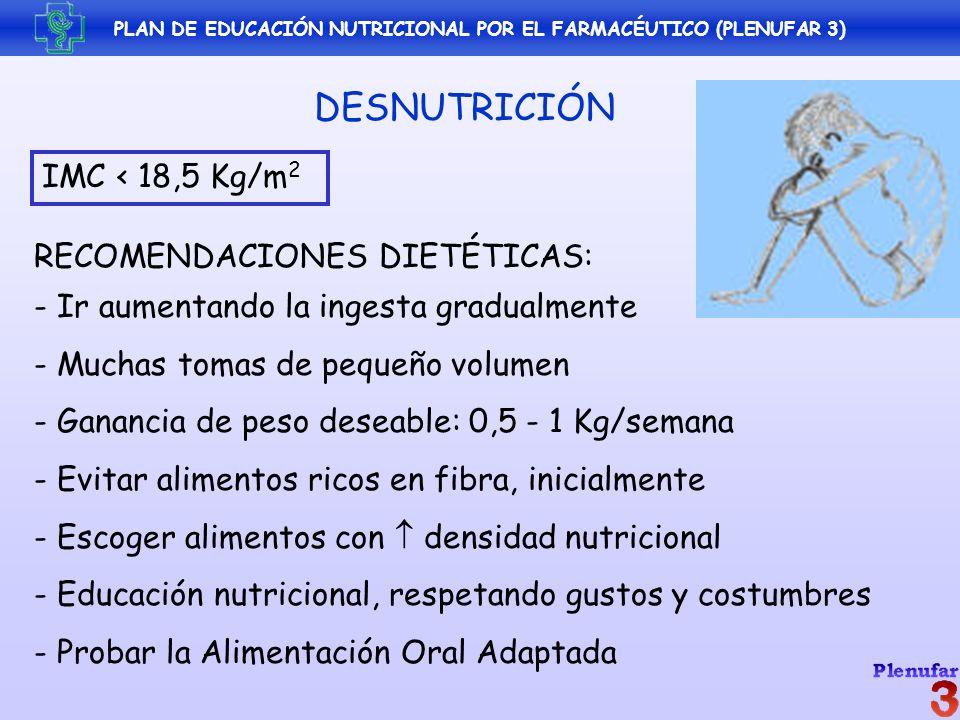 PLAN DE EDUCACIÓN NUTRICIONAL POR EL FARMACÉUTICO (PLENUFAR 3) DESNUTRICIÓN IMC < 18,5 Kg/m 2 RECOMENDACIONES DIETÉTICAS: - Ir aumentando la ingesta g