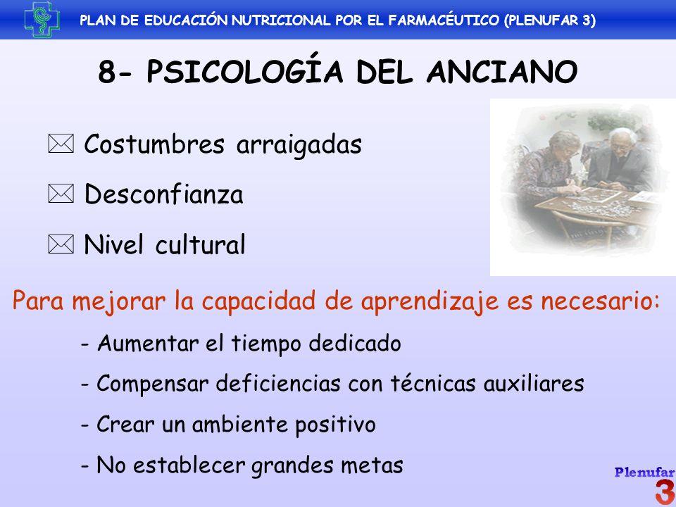 PLAN DE EDUCACIÓN NUTRICIONAL POR EL FARMACÉUTICO (PLENUFAR 3) 8- PSICOLOGÍA DEL ANCIANO Costumbres arraigadas Desconfianza Nivel cultural Para mejora