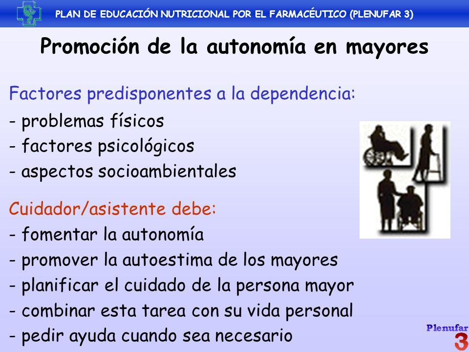 PLAN DE EDUCACIÓN NUTRICIONAL POR EL FARMACÉUTICO (PLENUFAR 3) Promoción de la autonomía en mayores Factores predisponentes a la dependencia: - proble
