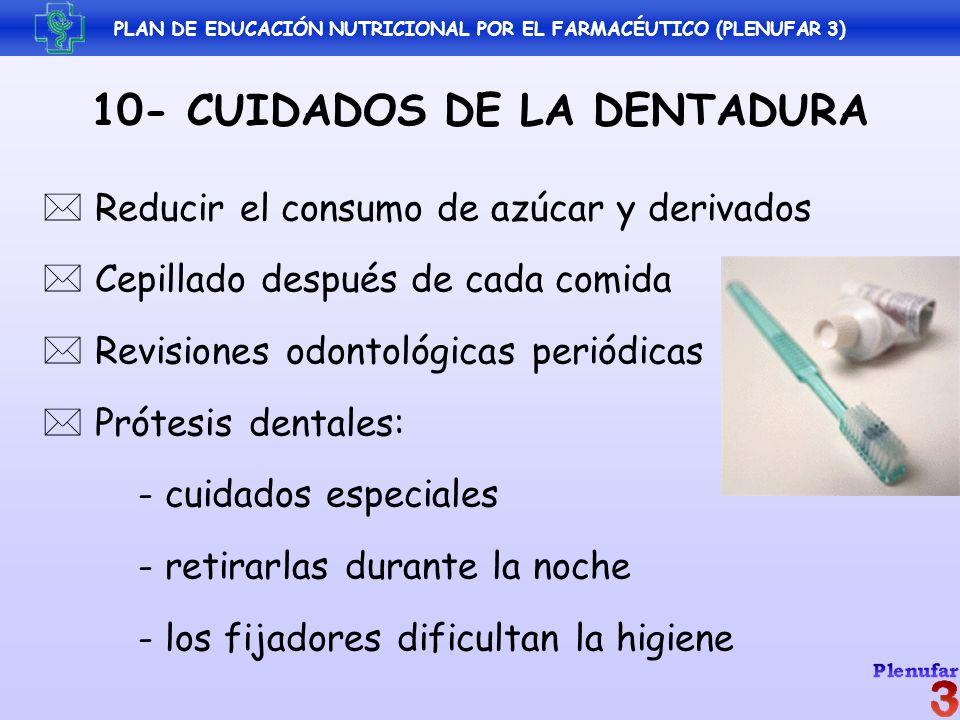 PLAN DE EDUCACIÓN NUTRICIONAL POR EL FARMACÉUTICO (PLENUFAR 3) 10- CUIDADOS DE LA DENTADURA Reducir el consumo de azúcar y derivados Cepillado después