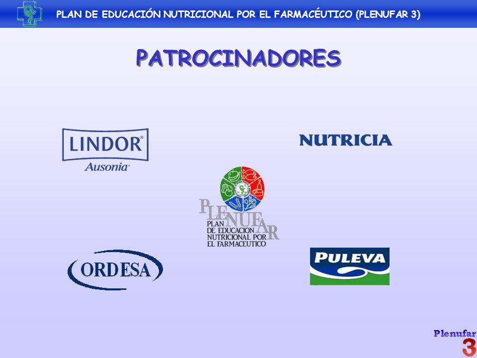 PLAN DE EDUCACIÓN NUTRICIONAL POR EL FARMACÉUTICO (PLENUFAR 3) PATROCINADORES