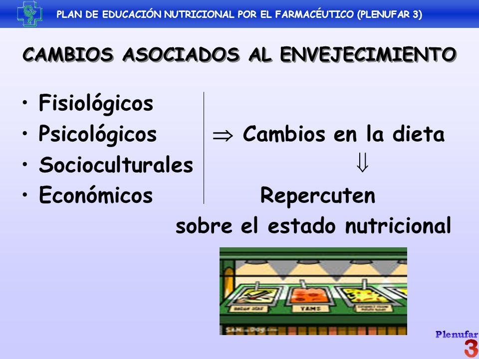 CAMBIOS ASOCIADOS AL ENVEJECIMIENTO Fisiológicos Psicológicos Cambios en la dieta Socioculturales EconómicosRepercuten sobre el estado nutricional PLA