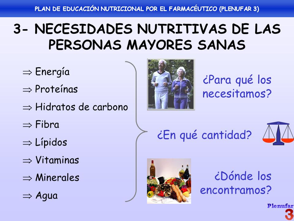 3- NECESIDADES NUTRITIVAS DE LAS PERSONAS MAYORES SANAS Energía Proteínas Hidratos de carbono Fibra Lípidos Vitaminas Minerales Agua ¿Para qué los nec
