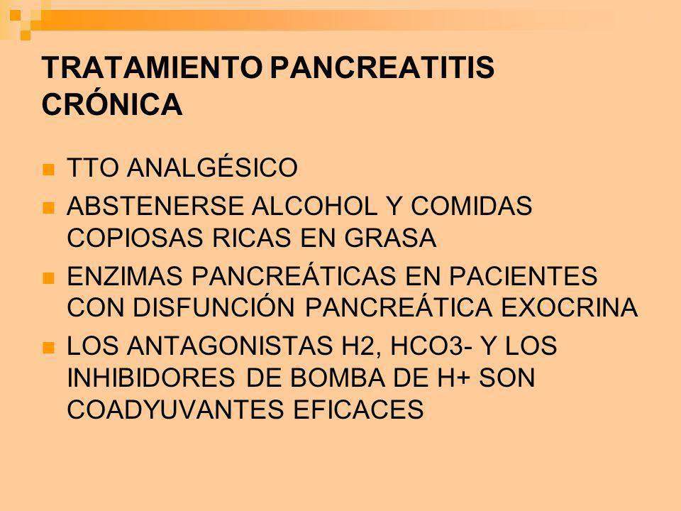 TRATAMIENTO PANCREATITIS CRÓNICA TTO ANALGÉSICO ABSTENERSE ALCOHOL Y COMIDAS COPIOSAS RICAS EN GRASA ENZIMAS PANCREÁTICAS EN PACIENTES CON DISFUNCIÓN