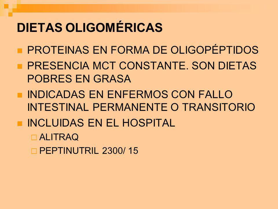 DIETAS OLIGOMÉRICAS PROTEINAS EN FORMA DE OLIGOPÉPTIDOS PRESENCIA MCT CONSTANTE. SON DIETAS POBRES EN GRASA INDICADAS EN ENFERMOS CON FALLO INTESTINAL