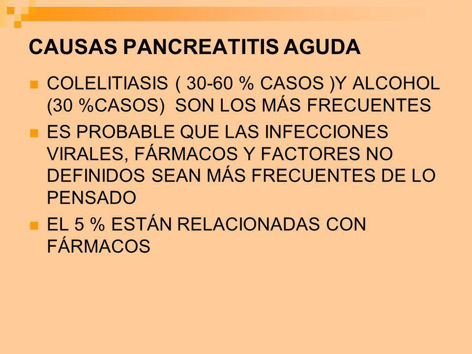 CAUSAS PANCREATITIS AGUDA COLELITIASIS ( 30-60 % CASOS )Y ALCOHOL (30 %CASOS) SON LOS MÁS FRECUENTES ES PROBABLE QUE LAS INFECCIONES VIRALES, FÁRMACOS