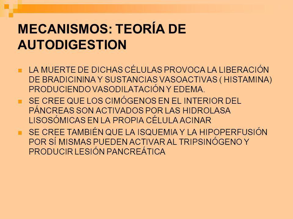 MECANISMOS: TEORÍA DE AUTODIGESTION LA MUERTE DE DICHAS CÉLULAS PROVOCA LA LIBERACIÓN DE BRADICININA Y SUSTANCIAS VASOACTIVAS ( HISTAMINA) PRODUCIENDO