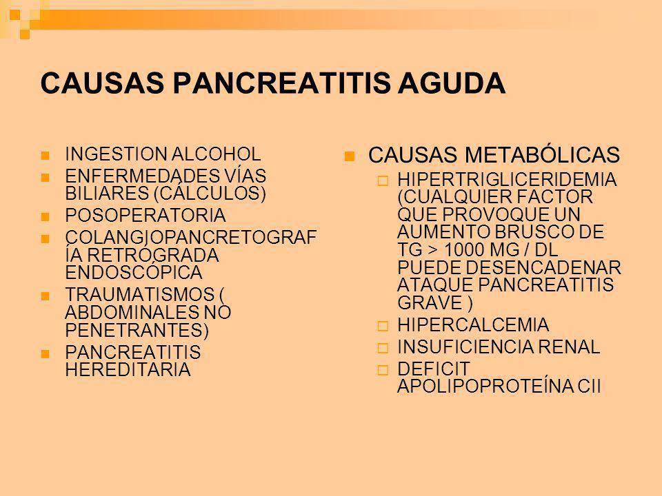 CAUSAS PANCREATITIS AGUDA INGESTION ALCOHOL ENFERMEDADES VÍAS BILIARES (CÁLCULOS) POSOPERATORIA COLANGIOPANCRETOGRAF ÍA RETRÓGRADA ENDOSCÓPICA TRAUMAT
