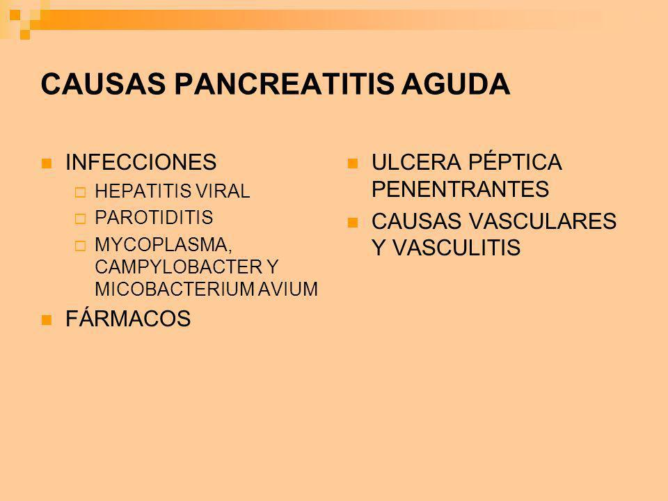 CAUSAS PANCREATITIS AGUDA INFECCIONES HEPATITIS VIRAL PAROTIDITIS MYCOPLASMA, CAMPYLOBACTER Y MICOBACTERIUM AVIUM FÁRMACOS ULCERA PÉPTICA PENENTRANTES