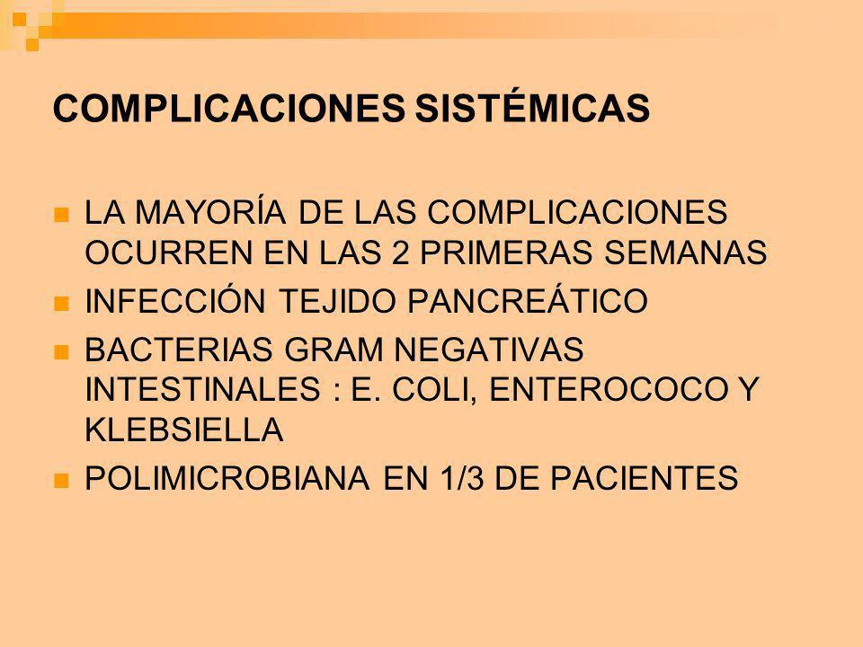 COMPLICACIONES SISTÉMICAS LA MAYORÍA DE LAS COMPLICACIONES OCURREN EN LAS 2 PRIMERAS SEMANAS INFECCIÓN TEJIDO PANCREÁTICO BACTERIAS GRAM NEGATIVAS INT