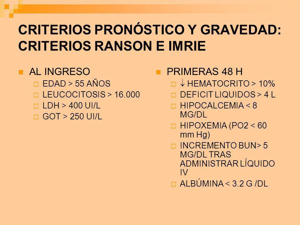 CRITERIOS PRONÓSTICO Y GRAVEDAD: CRITERIOS RANSON E IMRIE AL INGRESO EDAD > 55 AÑOS LEUCOCITOSIS > 16.000 LDH > 400 UI/L GOT > 250 UI/L PRIMERAS 48 H