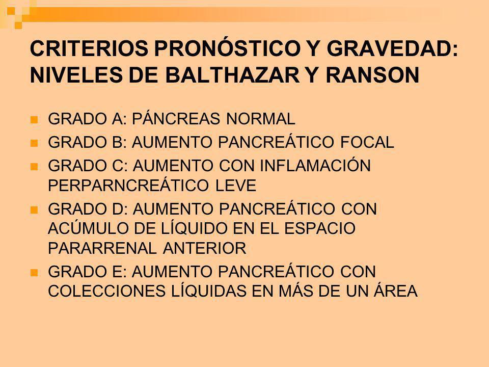 CRITERIOS PRONÓSTICO Y GRAVEDAD: NIVELES DE BALTHAZAR Y RANSON GRADO A: PÁNCREAS NORMAL GRADO B: AUMENTO PANCREÁTICO FOCAL GRADO C: AUMENTO CON INFLAM
