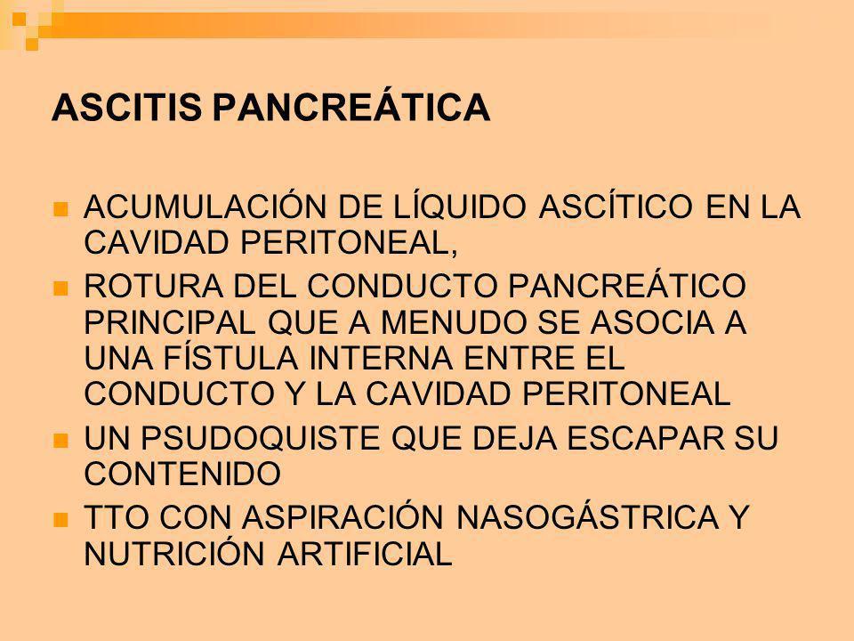 ASCITIS PANCREÁTICA ACUMULACIÓN DE LÍQUIDO ASCÍTICO EN LA CAVIDAD PERITONEAL, ROTURA DEL CONDUCTO PANCREÁTICO PRINCIPAL QUE A MENUDO SE ASOCIA A UNA F