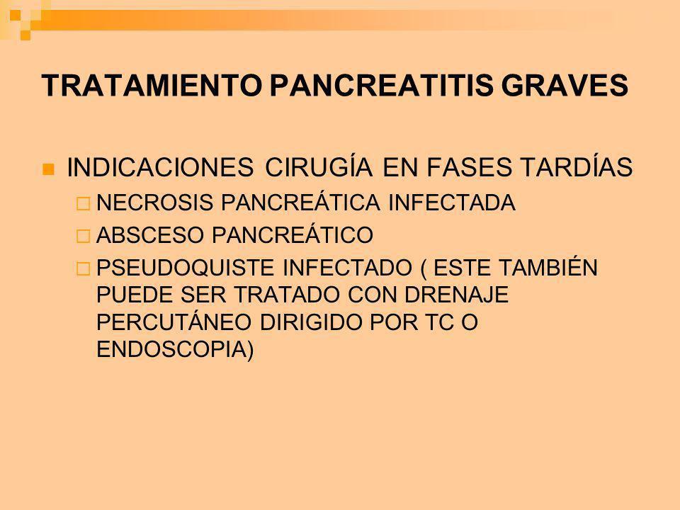 TRATAMIENTO PANCREATITIS GRAVES INDICACIONES CIRUGÍA EN FASES TARDÍAS NECROSIS PANCREÁTICA INFECTADA ABSCESO PANCREÁTICO PSEUDOQUISTE INFECTADO ( ESTE