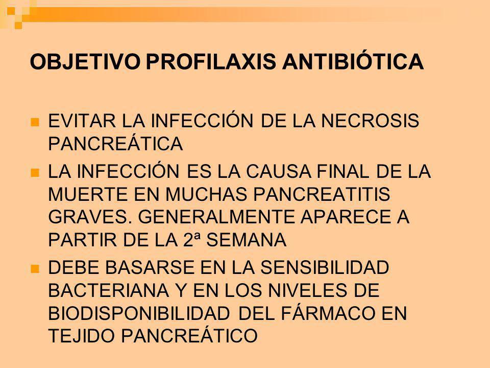 OBJETIVO PROFILAXIS ANTIBIÓTICA EVITAR LA INFECCIÓN DE LA NECROSIS PANCREÁTICA LA INFECCIÓN ES LA CAUSA FINAL DE LA MUERTE EN MUCHAS PANCREATITIS GRAV