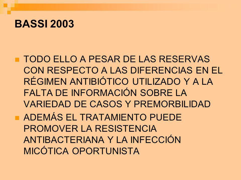 BASSI 2003 TODO ELLO A PESAR DE LAS RESERVAS CON RESPECTO A LAS DIFERENCIAS EN EL RÉGIMEN ANTIBIÓTICO UTILIZADO Y A LA FALTA DE INFORMACIÓN SOBRE LA V